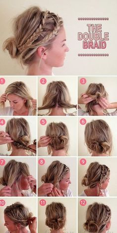 pull out two pieces at top side.  create back messy bun/wrap.  braid two sections, hide tails into bun.