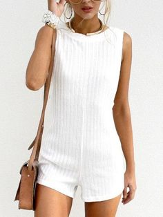 crew neck romper, preppy playsuit, white outfit, summer outfit - Lyfie
