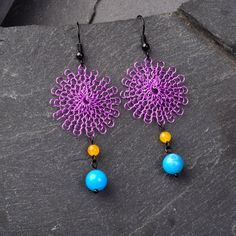Dreamcatcher Earring - Colorful Dangle Violet Boho Earrings with Blue and Magenta Jade Contemporary Earrings