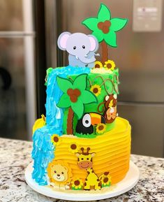 Monster Birthday Cakes, Baby Birthday Cakes, Birthday Parties, Jungle Theme Cakes, Safari Cakes, Torta Baby Shower, First Birthday Shirts, Buttercream Cake, Themed Cakes