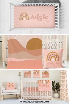 Love this boho crib bedding for your indie baby nursery! Don't miss the personalized crib sheet and rainbow nursery pillow! Nursery Room Decor, Nursery Themes, Girl Nursery, Nursery Ideas, Boho Nursery, Nursery Design, Room Ideas, Rainbow Nursery, Rainbow Room