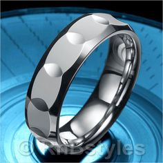 Sparkling Mens Tungsten Ring High Polish Wedding Band 7mm | RnBJewellery
