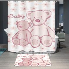 Cute Pink Bear Print Shower Curtain For Bathroom Decor TYChome And Rod