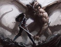 male and female fantasy warrior | ... (2d, fantasy, elf, creature, monster, girl, female, woman, warrior