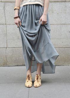 Rae Jones Jacamar hand tooled slingback sandal, Hematite Long Chiffon Skirt in Gravel Chiffon Portfolio Design, Looks Style, Style Me, Mode Pastel, Vogue, Look Fashion, Get Dressed, Passion For Fashion, Dress To Impress