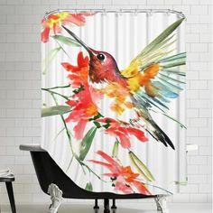 Americanflat Hummingbird with Flowers Shower Curtain - Walmart.com