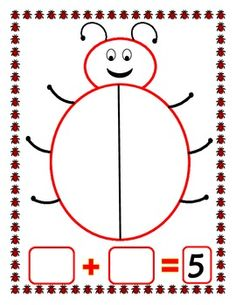 A ladybug math mat to use when practicing composing and decomposing numbers. Place the target number of 2 color counters in a small cup and spill them out on the mat. Separate the colors on each side of the ladybug and record the combination. Students should repeat this until all combinations have been discovered or until the student begins to develop an understanding of number relationships and patterns. Includes mats for 4, 5, and 6.