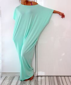 Mint  turquoise Maxi oversized plus size elastic cotton caftan dress/ Cover up /Tunic dress /Sun dress/Casual dress/Everyday dress