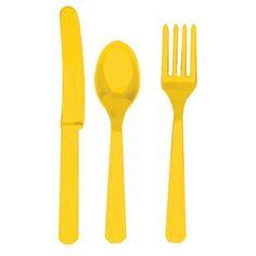Sztućce jednorazowe żółte. Kolory, kolory i jeszcze więcej kolorów- tym się kieruj w dekorowaniu stołu :)