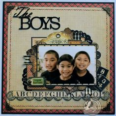 This beautiful LO is by @Arlene Russell Butterflykisses starring her three sons! How precious is this ABC Primer layout? #graphic45 #layouts