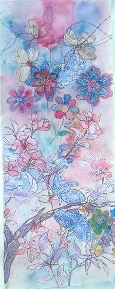 Paper, hand/machine embroidery on canvas...I am definitely a pink and blue person...