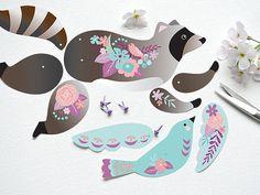 Instante descargar bricolaje mapache papel por crazyfoxpaper