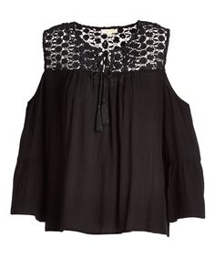 Take a look at this Black Lace-Detail Cold-Shoulder Peasant Top today!