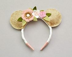 dffe792d05d Mouse Ears headband    gold white blush and pink mouse ears headband Mouse  Ears Headband