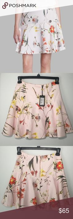 Ted Baker Botanical Bloom Floral Print Skirt The botanical bloom floral print with a layered and lavish palette of pink is effortlessly vintage inspired. Shell: 100% Cotton; Lining: 97% Polyester/3% Elastane Imported Machine Wash Back zip Easy fit Ted Baker Skirts Midi