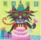 """Miss Kitty's Bday"" painted canvas by Denise DeRusha Size: 5"" x 5"" Mesh Count: 18"