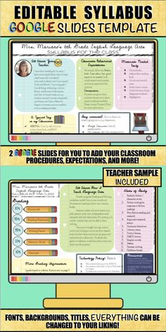 There are lots of syllabus templates on Teachers Pay Teachers, but this one is for you Google Suite users! This entire syllabus was created in Google Slides and can be used for any subject, any grade level. Classroom Procedures, Classroom Management, Classroom Ideas, Math Classroom, Middle School Classroom, High School, Flipped Classroom, English Classroom, Syllabus Template