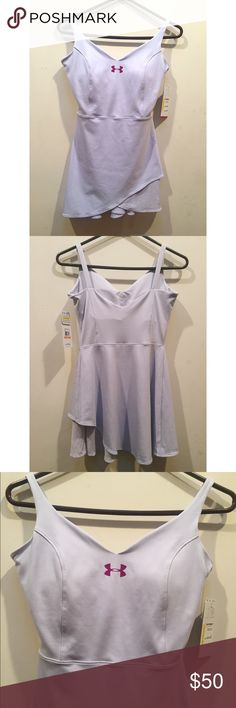 ☀️NWT Under Armour Wimbledon Tennis Dress Small Under Armour Wimbledon Tennis Dress, new with tags, size small, in lavender with pink logo, absolutely adorable! Under Armour Dresses