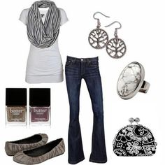 Black and White for spring; Designer jeans, fashion accesories with flat ballet shoes and coin purse from thirty-one.  $20.00   www.mythirtyone.com/dianecaudill