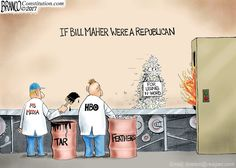 Bill Maher keeping his job after saying the N-word, shows the double standard with liberals vs Republicans. Political Cartoon by A.F. Branco ©2017.
