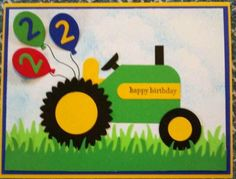 birthday cards for a 4 year old boy that has a tractor Homemade Birthday Cards, Birthday Cards For Mom, Bday Cards, Homemade Cards, Diy Birthday, Tractor Birthday, Punch Art Cards, Kids Cards, Cute Cards