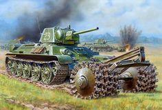 el T-34 con rodillo para limpiar campos de minas