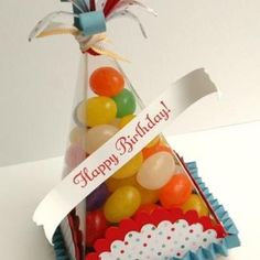 Too cute! Love these party hat favors! You could fill them with any kind of candy.