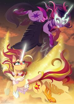 #990122 - artist:dennybutt, daydream shimmer, equestria girls, friendship games, glowing eyes, glowing horn, midnight sparkle, ponified, princess twilight, safe, spoiler:friendship games, sunset shimmer, twilight sparkle - Derpibooru - My Little Pony: Friendship is Magic Imageboard
