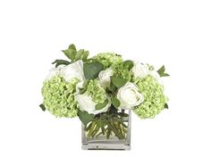 $358  Rose Hydrangea (GF127): Rose Hydrangea, Cream Green, Glass Cube, 13wx14dx11h