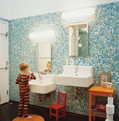 one child height sink with mirror (higher to adult height) to replace the current one