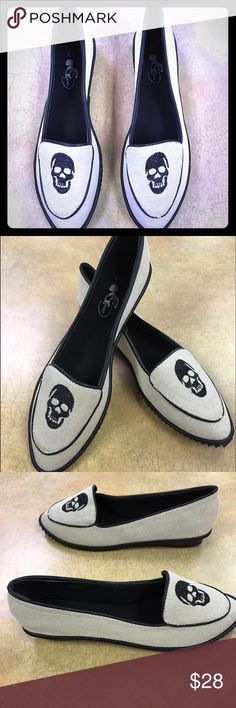 NIB GC Shoes, Tori canvas Skull Flats Black and cream canvas, skull embroidered detail. Anti slip. Rigid grip tooth tread. ‼THESE RUN 1 SIZE SMALL‼️ these will fit a size 7.5 .. And due to the narrowness and more fitted toe. GC shoes Shoes Flats & Loafers