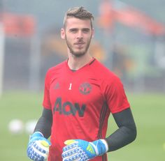 David de Gea of Manchester United in action during a first team training session…