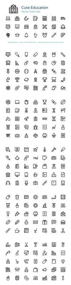 195+ Education Line Vector Icons. Icons. $13.00