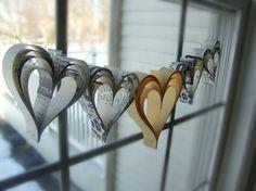 Heart garland banner hand cut hearts Saffron love by PaperPolaroid, $18.00