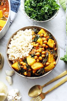 A flavourful 40 minute dish featuring chickpeas, potatoes, and kale all in a spicy tomato based curry. It's vegan and gluten-free too! Serve it with rice for a complete meal!