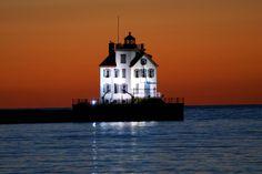 Lorain Lighthouse at Night