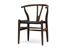 Baxton Studio Wishbone Chair - Brown Wood Y Chair with Black Seat