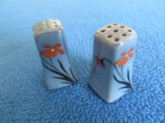 Antique, hand painted, mini Salt and Pepper |