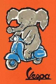 Publicité Vespa Vintage éléphant