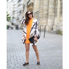 Laura Ou Pas styling our sophisticated draped jacket and vibrant orange shift dress #riverisland #bloggerstyle