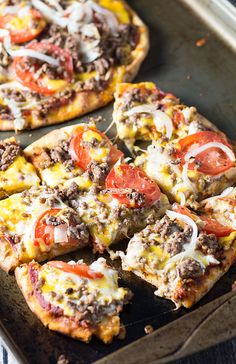 Naan Cheeseburger Pizza - A quick and easy pizza that has all the flavors of a hearty cheeseburger!