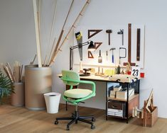 Dad's DIY workshop deserves a mini makeover. Add a pop of colour & superb comfort with the Allstar chair, while you're at it let's get him sorted with a rotary tray for all the bits and bobs lying around. Italian Furniture Brands, Luxury Furniture Brands, Large Furniture, Furniture Design, Eames, Mid Century Desk, T Home, Home Office Space, Desk Space