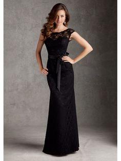 Black Lace Floor Length Bridesmaid Wedding Party Dresses 1105059