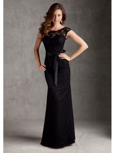Black Lace Floor Length Bridesmaid Wedding Party Dresses 1105059