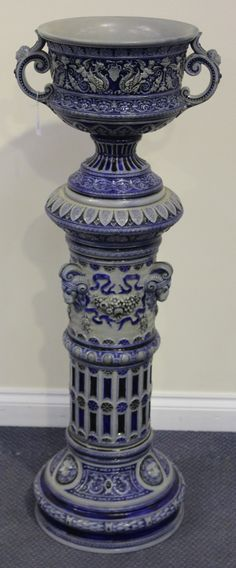 A German Westerwald stoneware jardinière and stand, late 19th/early 20th Century