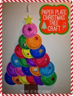 Holiday Craft: Painted Paper Plate Christmas Tree! #ChristmasCraft #ChristmasTree #HolidayCraft http://www.youngatheartmommy.com/2013/12/holiday-craft-painted-paper-plate.html?spref=tw