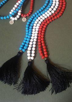 Red White Blue, Black Silk, Spiritual Jewelry, Prayer Beads, Tassel Necklace, Tassels, Etsy, Rosaries, Tassel