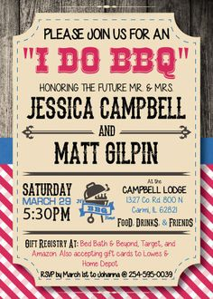 I Do BBQ Bridal Shower invitations by TallulahMaeboutique on Etsy, $9.99
