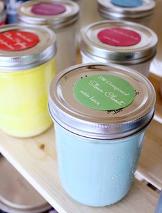 Hi Sugarplum | Store leftover paint in mason jars...easy to see colors on-hand, & quick touch-ups. No more messy paint cans taking up all the room in your garage!