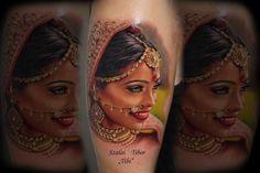 """Tattoo-Foto: Portrait indische Frau - tätowiert von Tibor """"Tibi"""" Szalai"""